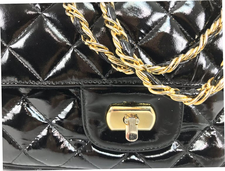 Vintage Jay Herbert quilted flap black patent leather chain handbag  1960s For Sale 5