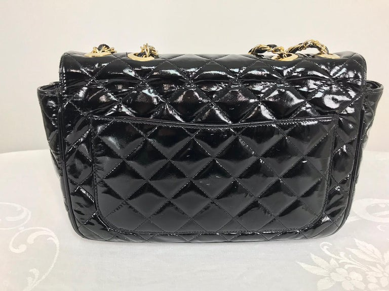 Black Vintage Jay Herbert quilted flap black patent leather chain handbag  1960s For Sale