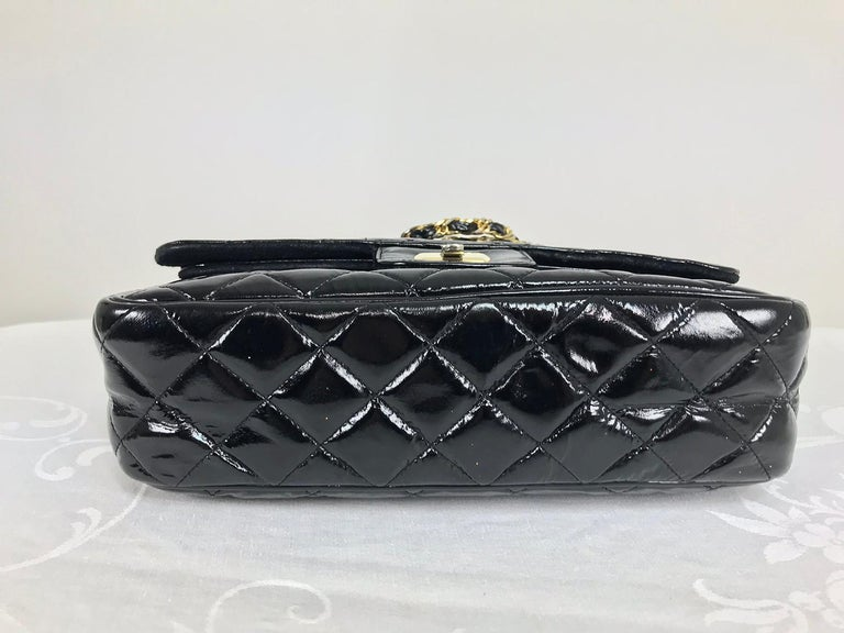 Vintage Jay Herbert quilted flap black patent leather chain handbag  1960s In Good Condition For Sale In West Palm Beach, FL
