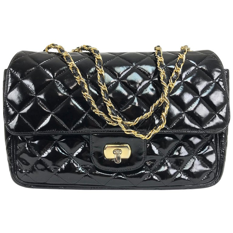 Vintage Jay Herbert quilted flap black patent leather chain handbag  1960s For Sale