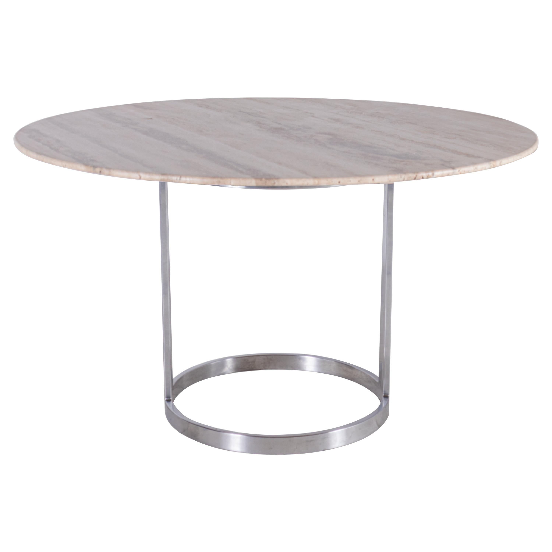 Jay Spectre Chrome Table Base with Custom Knoll Edge Travertine