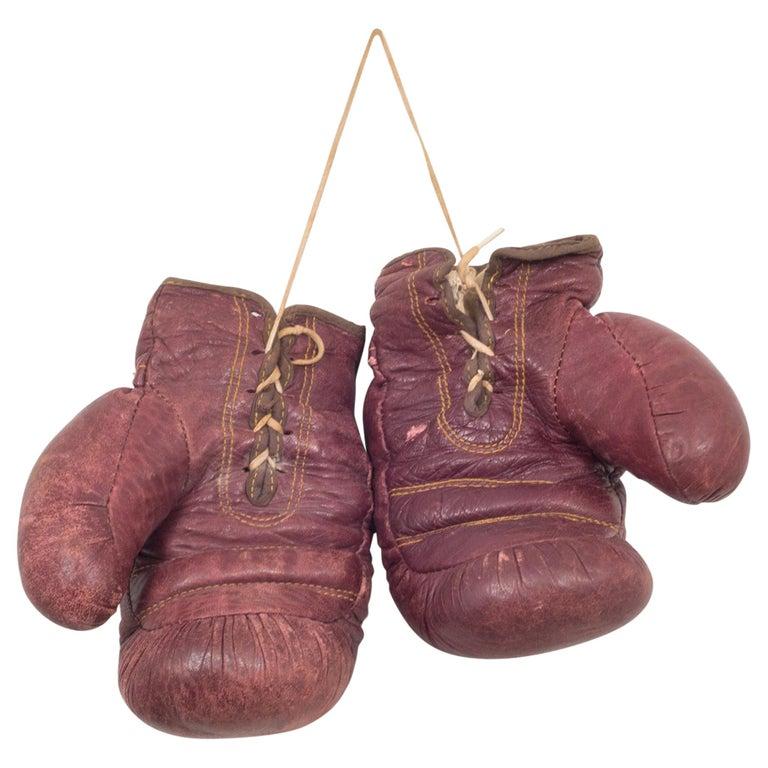 Vintage J.C. Higgins Leather Boxing Gloves, circa 1950-1960 For Sale