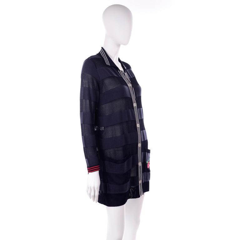 Vintage Jean Charles de Castelbajac Blue Striped Red Apple Cardigan Sweater For Sale 1