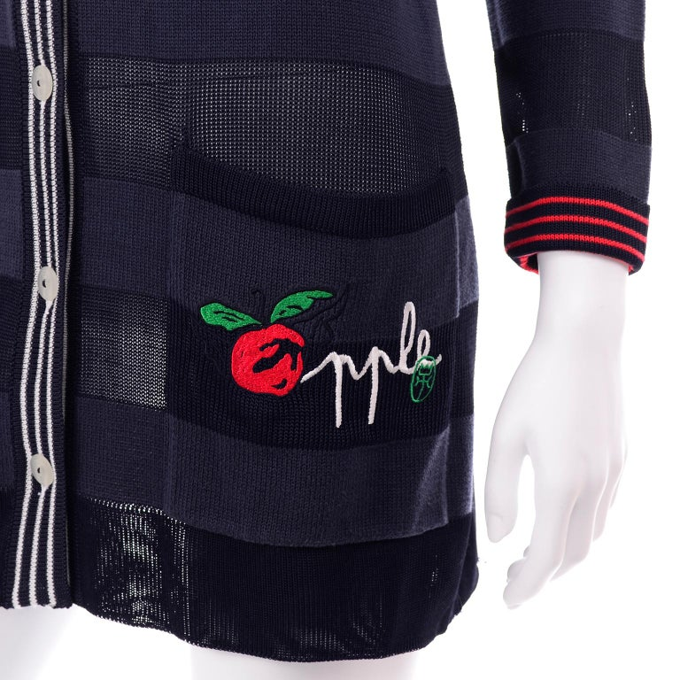 Vintage Jean Charles de Castelbajac Blue Striped Red Apple Cardigan Sweater For Sale 2