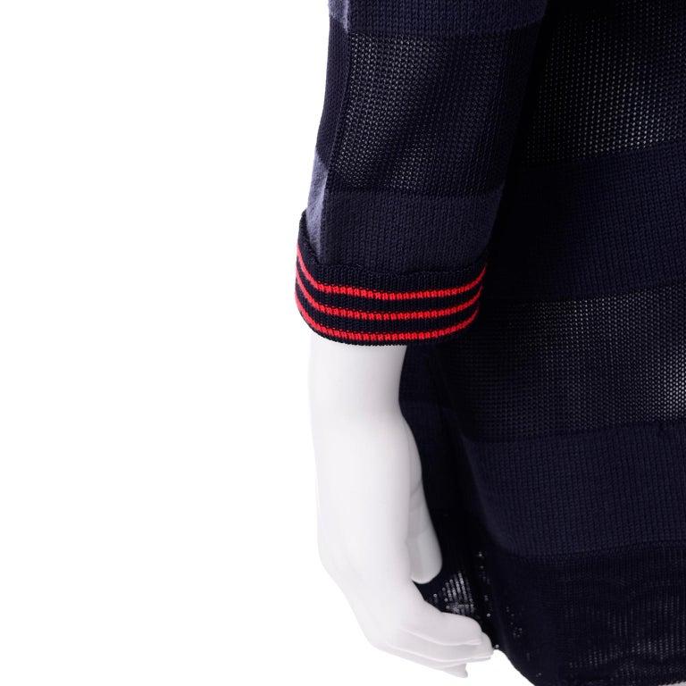 Vintage Jean Charles de Castelbajac Blue Striped Red Apple Cardigan Sweater For Sale 3