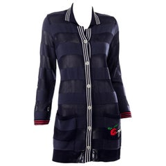 Vintage Jean Charles de Castelbajac Blue Striped Red Apple Cardigan Sweater