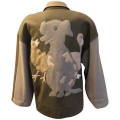 Vintage Jean-Charles de Castelbajac Virgin Wool Two-Tone Embroidered Jacket