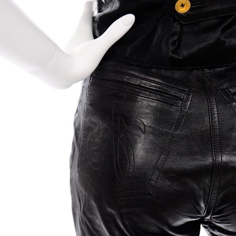 Vintage Jean-Claude Jitrois Black Leather Pants & Vest Sheer Silk Cutout Detail For Sale 6