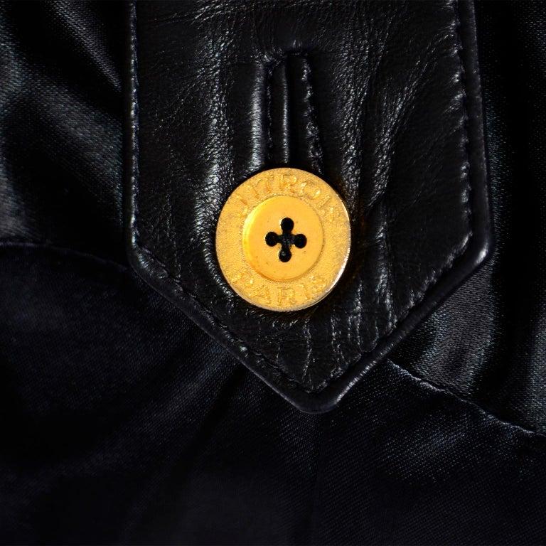 Vintage Jean-Claude Jitrois Black Leather Pants & Vest Sheer Silk Cutout Detail For Sale 8