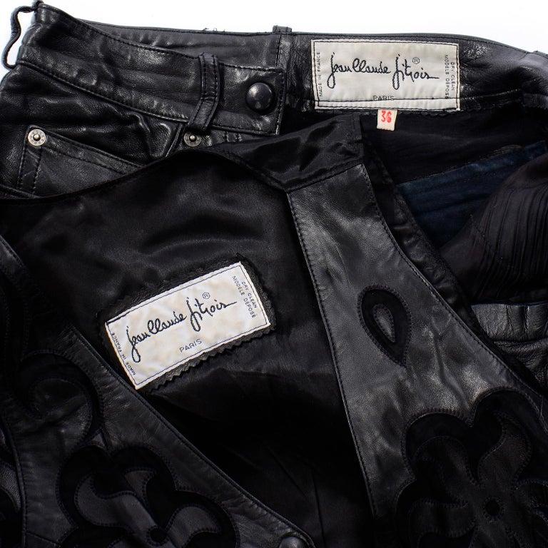 Vintage Jean-Claude Jitrois Black Leather Pants & Vest Sheer Silk Cutout Detail For Sale 9