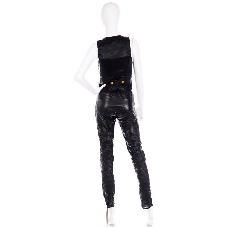 Women's Vintage Jean-Claude Jitrois Black Leather Pants & Vest Sheer Silk Cutout Detail For Sale