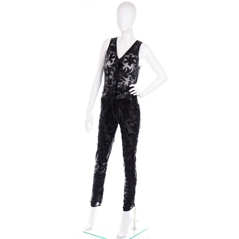 Vintage Jean-Claude Jitrois Black Leather Pants & Vest Sheer Silk Cutout Detail For Sale 1