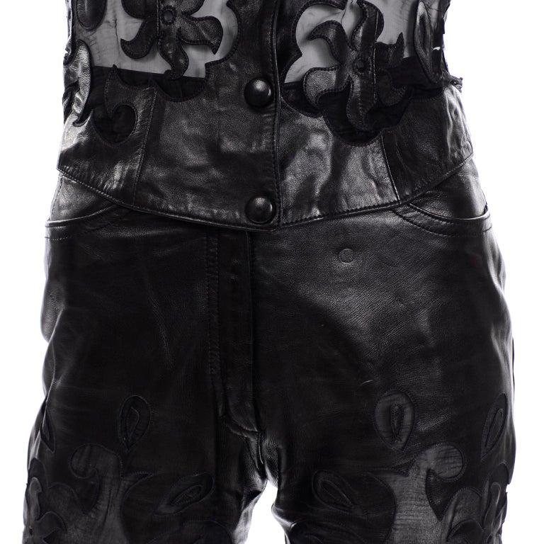 Vintage Jean-Claude Jitrois Black Leather Pants & Vest Sheer Silk Cutout Detail For Sale 4