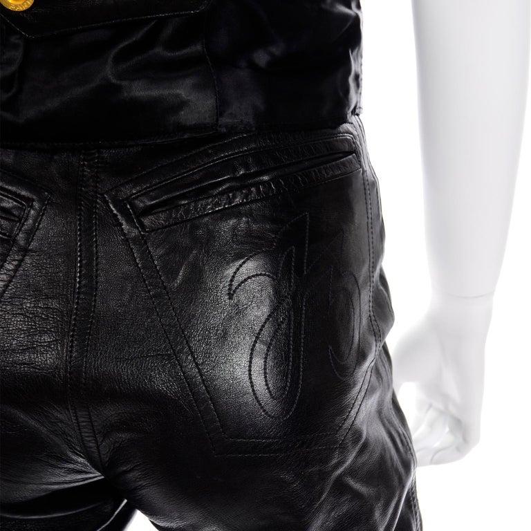 Vintage Jean-Claude Jitrois Black Leather Pants & Vest Sheer Silk Cutout Detail For Sale 5