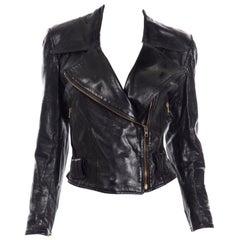 Vintage Jean-Claude Jitrois Paris Black Leather Motorcycle Jacket