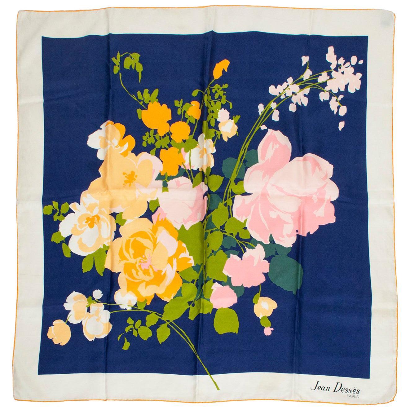 Vintage Jean Dessès Paris Blue Silk Floral Bouquet Foulard Scarf, 1950s