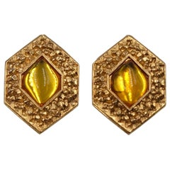 Vintage Jean Louis Scherrer Earrings Gold Tone Metal With Yellow Glass 1970's