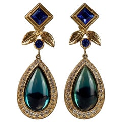 Vintage JEAN LOUIS SCHERRER Geometric Jeweled Drop Earrings