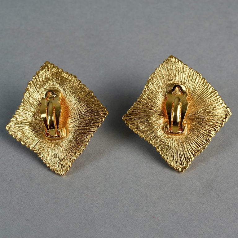 Vintage JEAN LOUIS SCHERRER Red CabochonTextured Inverted Square Earrings For Sale 6