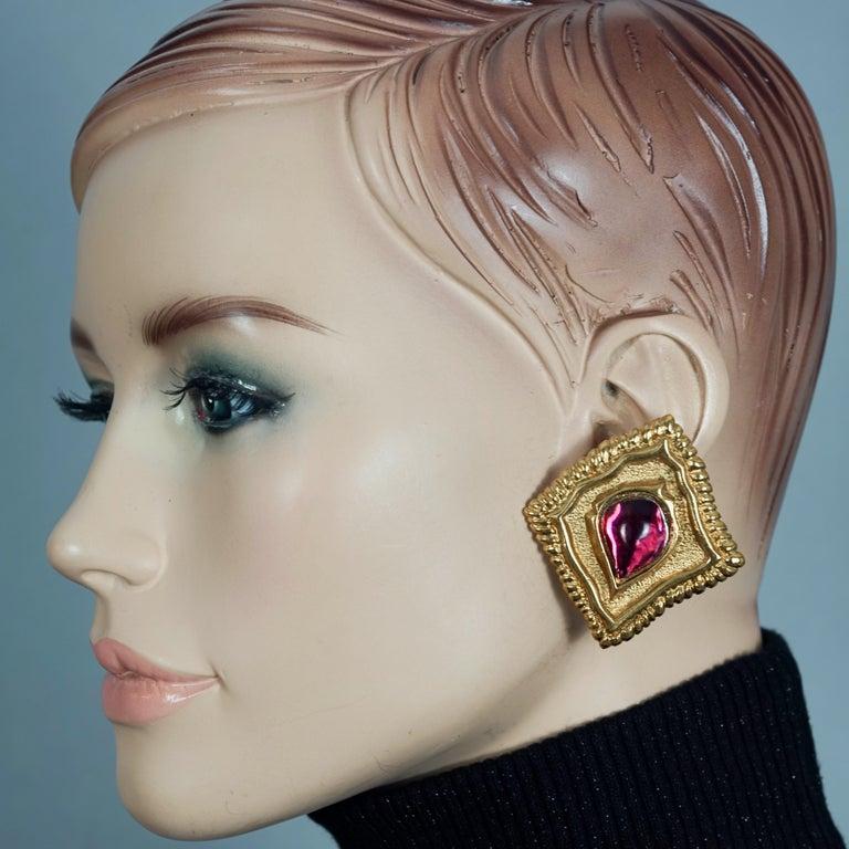 Vintage JEAN LOUIS SCHERRER Red CabochonTextured Inverted Square Earrings  Measurements: Height: 2.12 inches (5.4 cm) Width: 1.89 inches (4.8 cm) Weight per Earrings: 25 grams  Features: - 100% Authentic JEAN LOUIS SCHERRER. - Massive textured