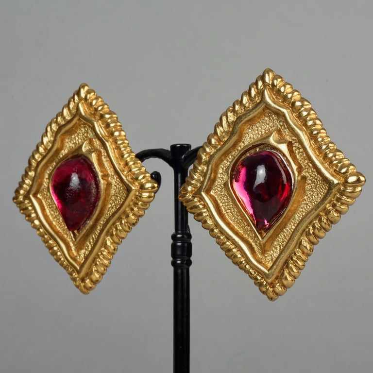 Women's Vintage JEAN LOUIS SCHERRER Red CabochonTextured Inverted Square Earrings For Sale