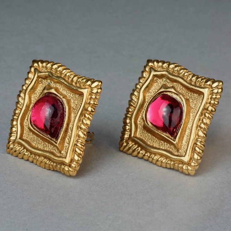 Vintage JEAN LOUIS SCHERRER Red CabochonTextured Inverted Square Earrings For Sale 4