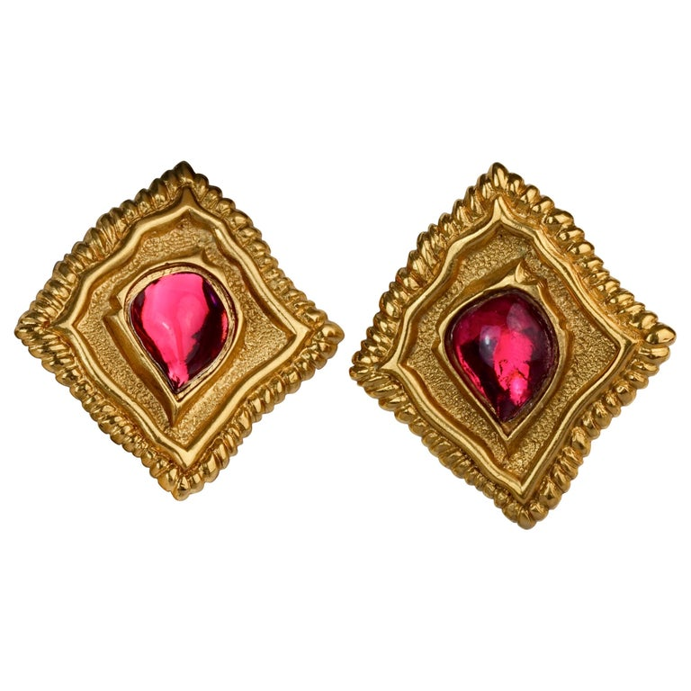 Vintage JEAN LOUIS SCHERRER Red CabochonTextured Inverted Square Earrings For Sale
