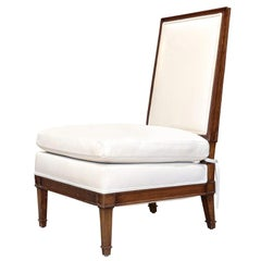 Vintage Jean-Michel Frank Style Slipper / Chauffeuse Chair in Ivory Leather