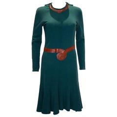 Vintage Jean Muir Wool and Snakeskin Dress