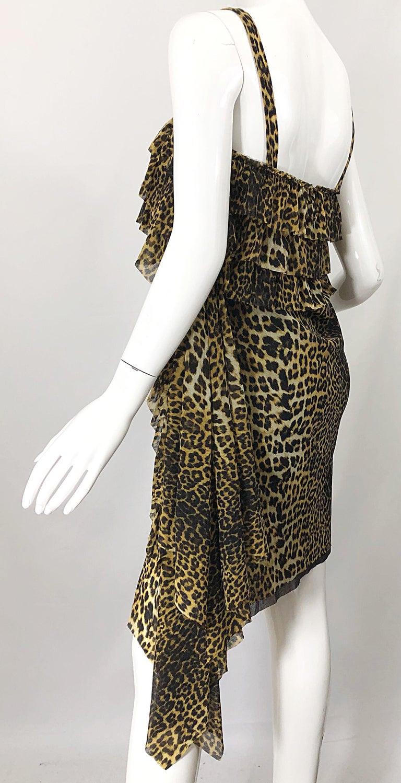 Vintage Jean Paul Gaultier 1990s Leopard Cheetah Animal Print 90s Sash Dress For Sale 6