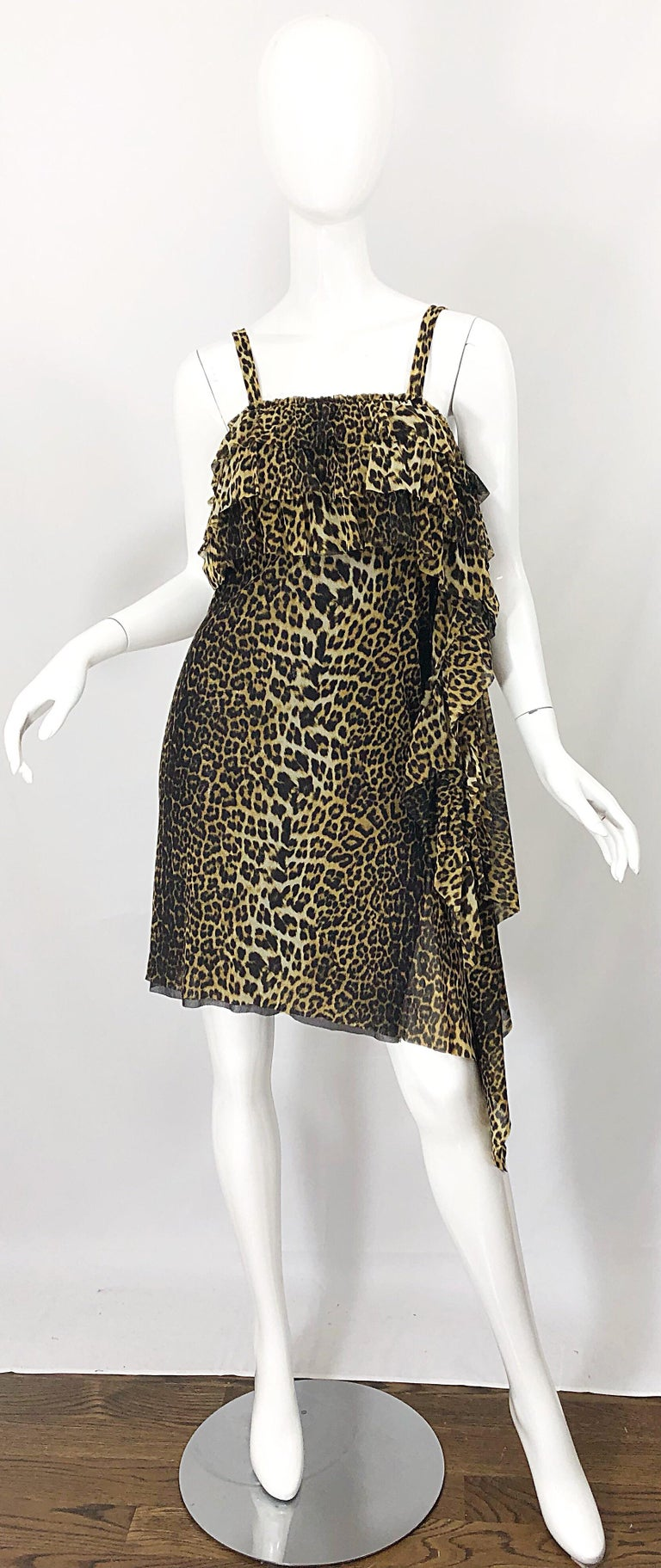 Vintage Jean Paul Gaultier 1990s Leopard Cheetah Animal Print 90s Sash Dress For Sale 7