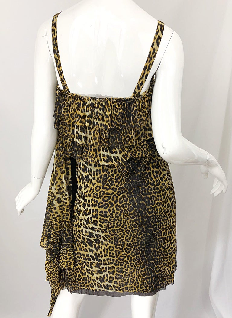 Vintage Jean Paul Gaultier 1990s Leopard Cheetah Animal Print 90s Sash Dress For Sale 8