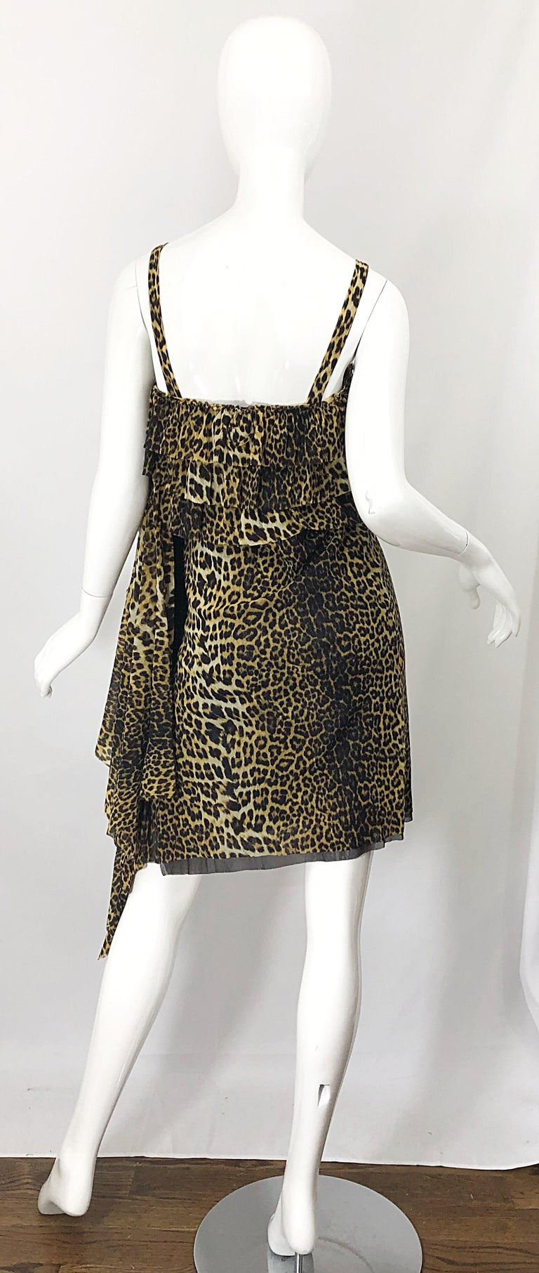 Black Vintage Jean Paul Gaultier 1990s Leopard Cheetah Animal Print 90s Sash Dress For Sale