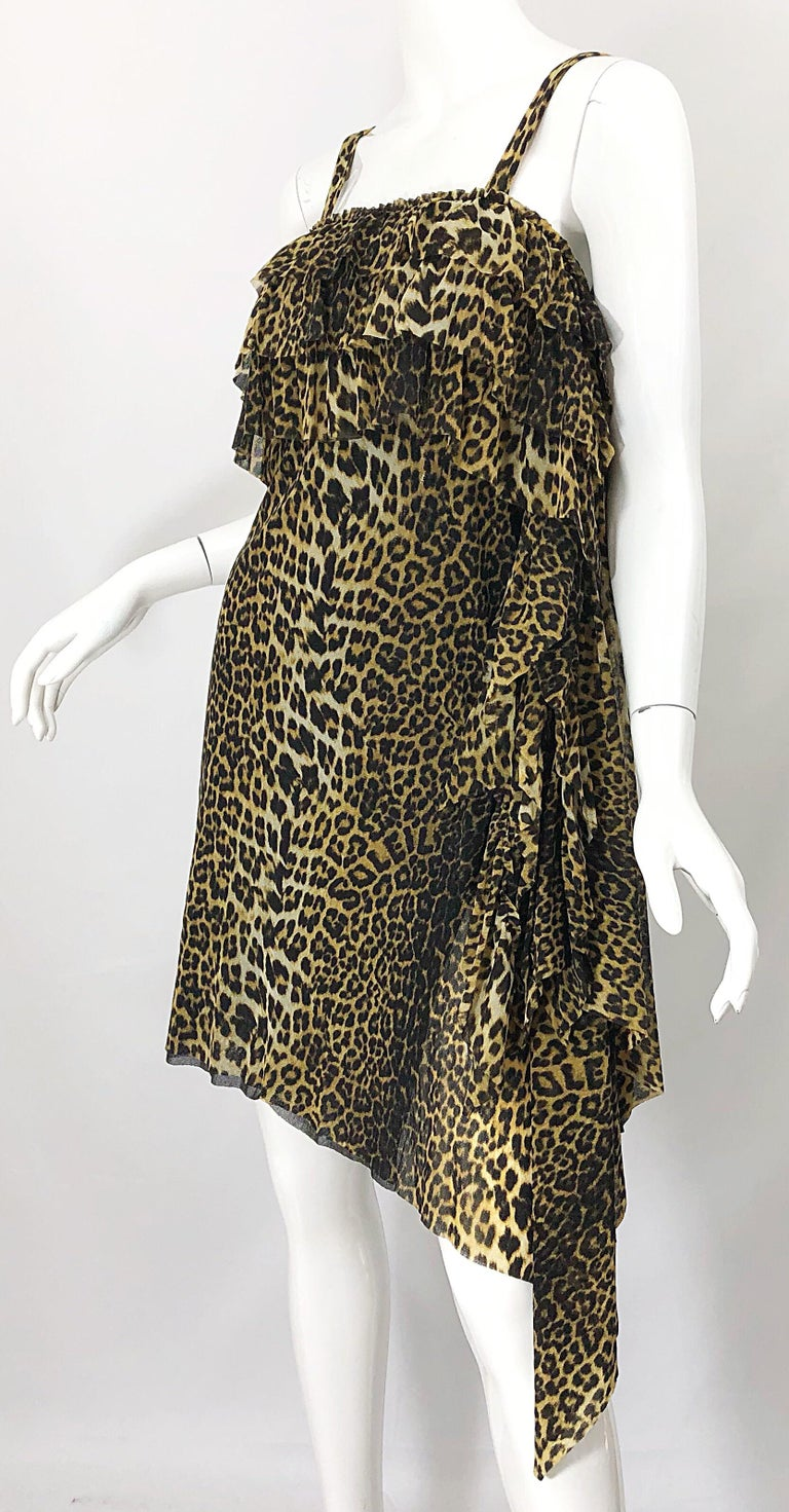 Vintage Jean Paul Gaultier 1990s Leopard Cheetah Animal Print 90s Sash Dress In Excellent Condition For Sale In Chicago, IL
