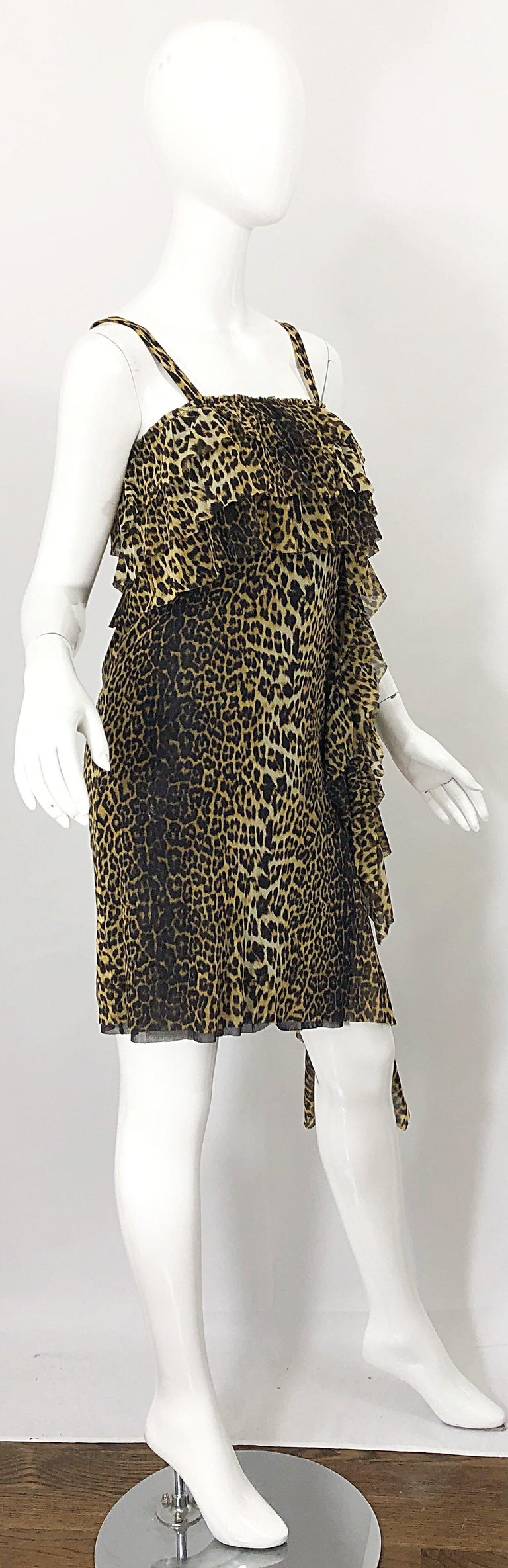 Women's Vintage Jean Paul Gaultier 1990s Leopard Cheetah Animal Print 90s Sash Dress For Sale