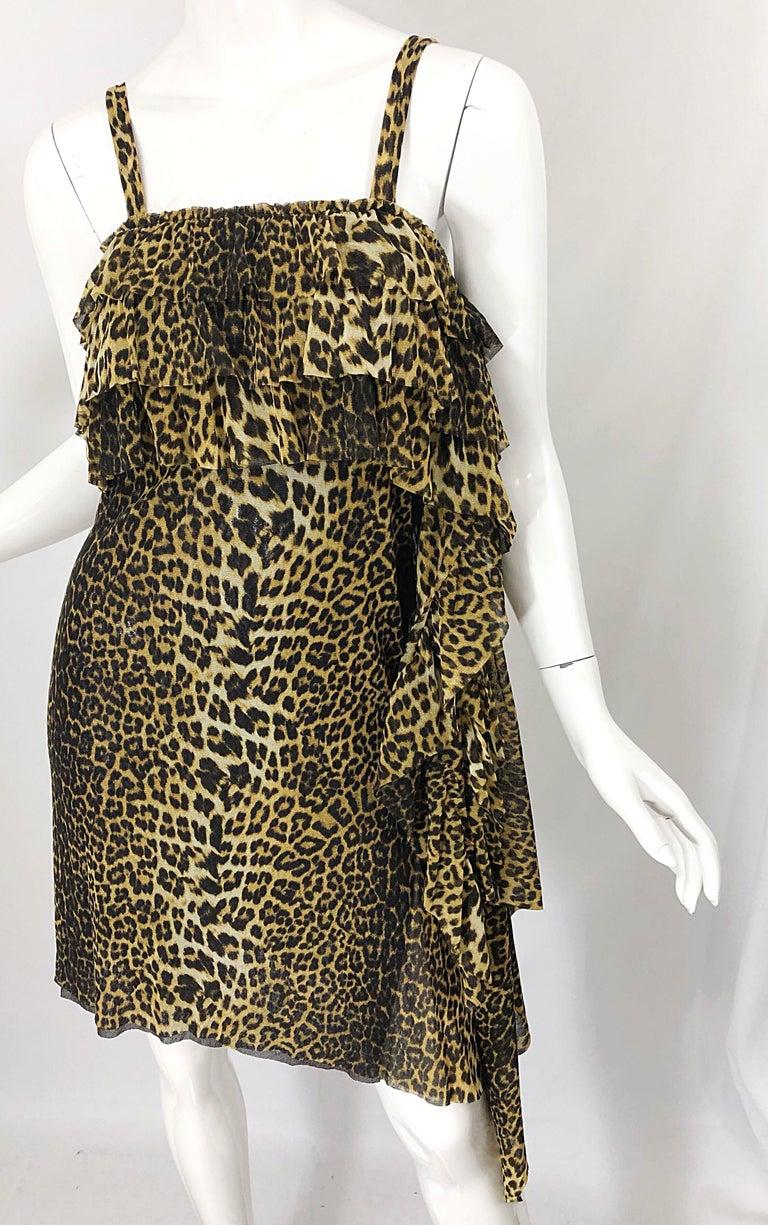 Vintage Jean Paul Gaultier 1990s Leopard Cheetah Animal Print 90s Sash Dress For Sale 1