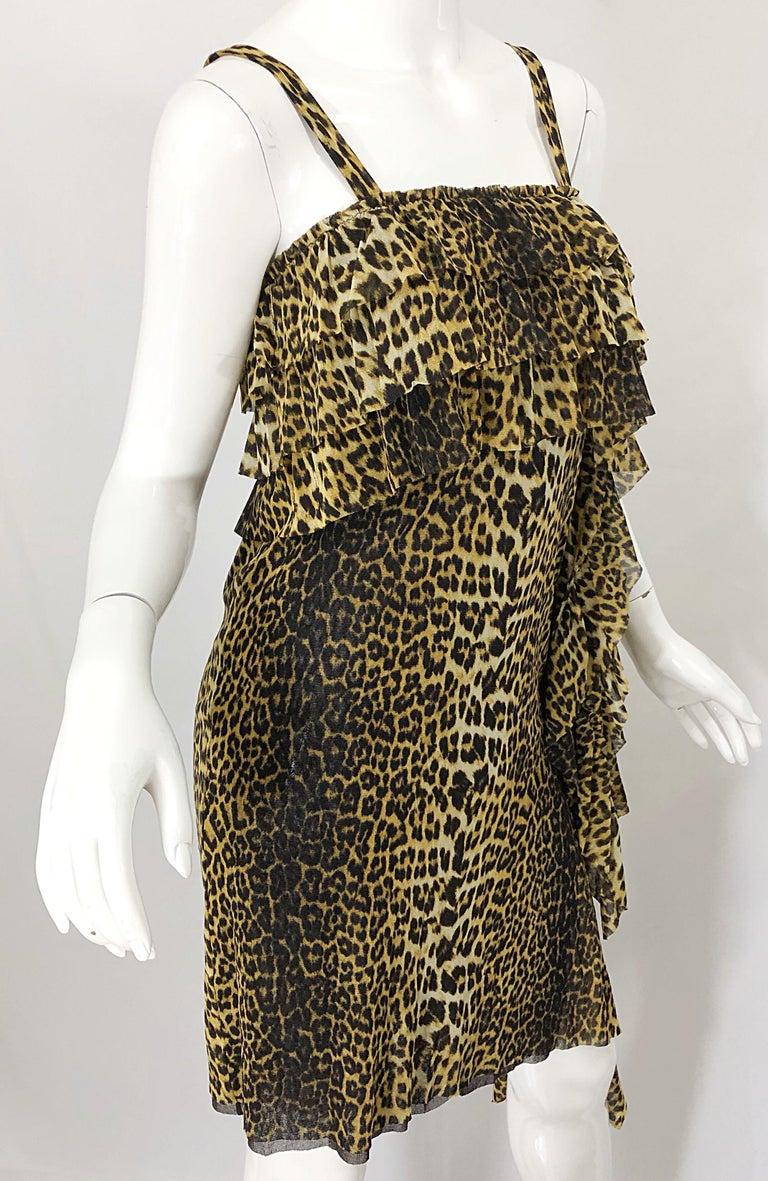 Vintage Jean Paul Gaultier 1990s Leopard Cheetah Animal Print 90s Sash Dress For Sale 3