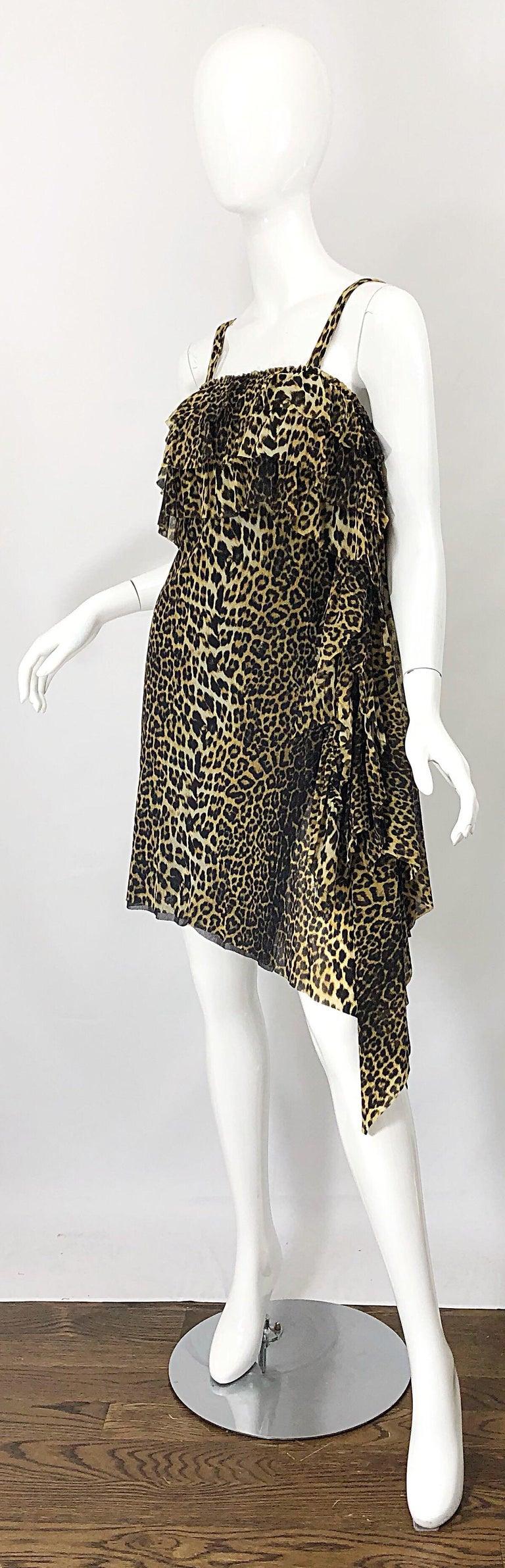 Vintage Jean Paul Gaultier 1990s Leopard Cheetah Animal Print 90s Sash Dress For Sale 4