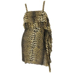 Vintage Jean Paul Gaultier 1990s Leopard Cheetah Animal Print 90s Sash Dress