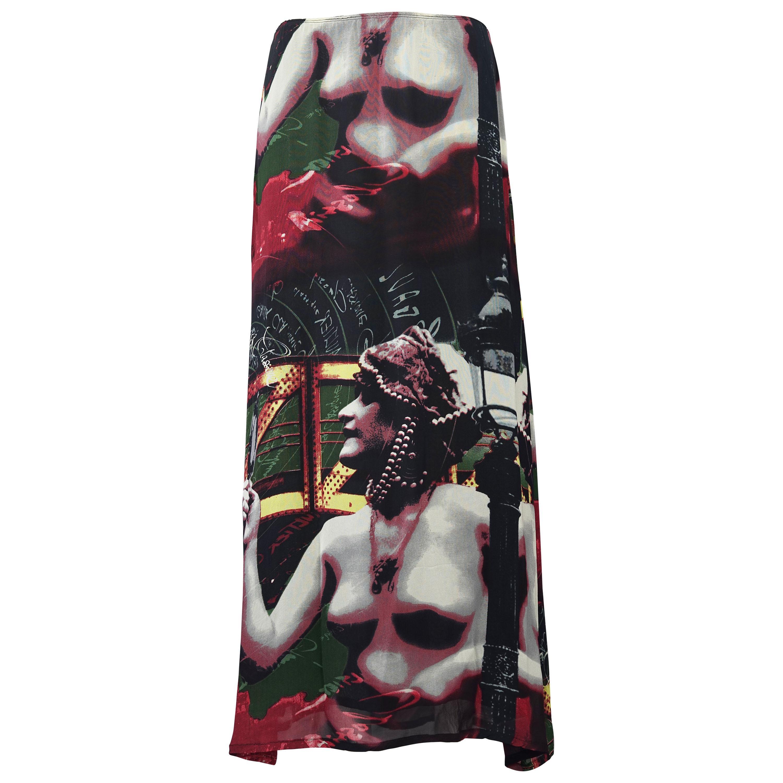Vintage JEAN PAUL GAULTIER Ancient Greek Bust Print Mesh Maxi Skirt