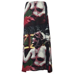 Vintage JEAN PAUL GAULTIER Ancient Greek Bust Print Mesh Maxi Skirt