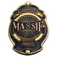 "Vintage JEAN PAUL GAULTIER ""Argent Massif Paris"" Enamel Badge Brooch"