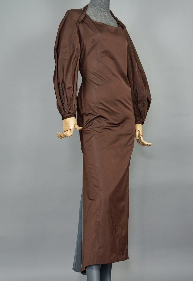 Women's Vintage JEAN PAUL GAULTIER Ballon Sleeves Pleated Slit Bi Color Dress For Sale