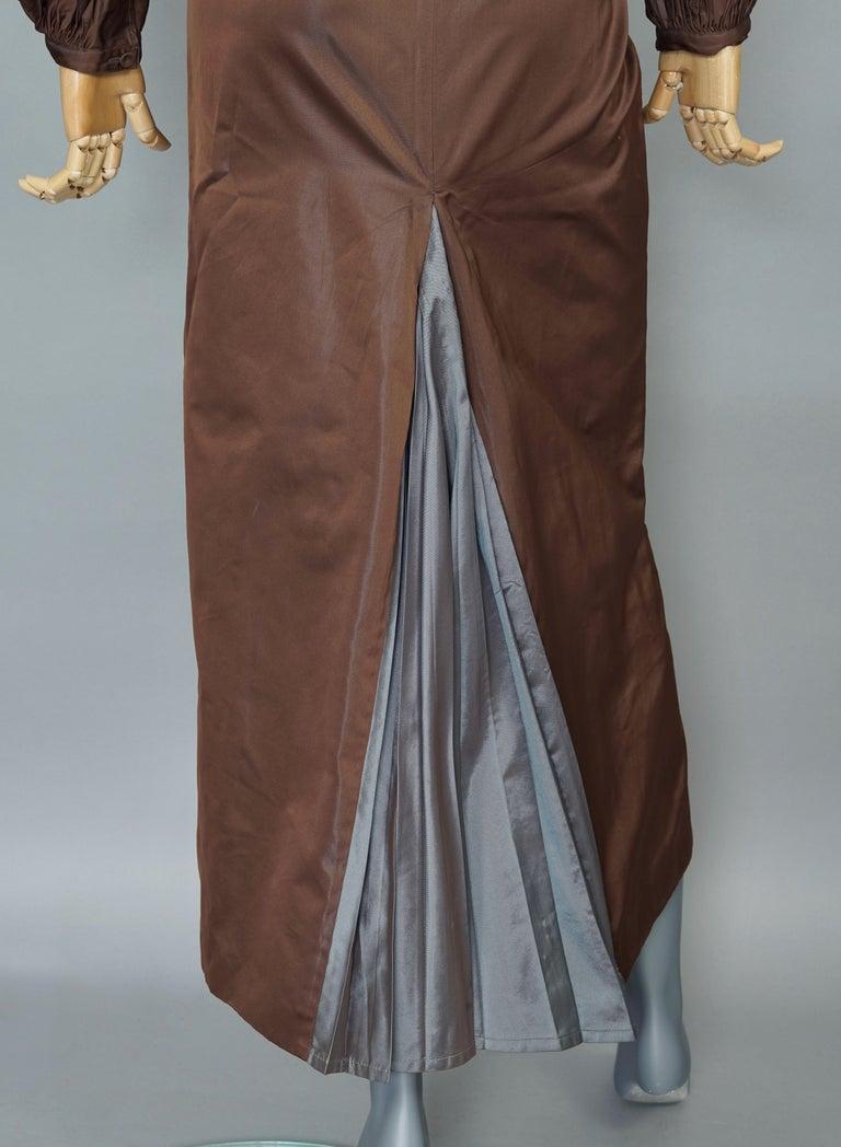Vintage JEAN PAUL GAULTIER Ballon Sleeves Pleated Slit Bi Color Dress For Sale 4