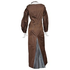 Vintage JEAN PAUL GAULTIER Ballon Sleeves Pleated Slit Bi Color Dress