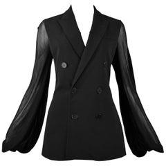 Vintage Jean Paul Gaultier Black Double Breasted Blazer Jacket w/ Mesh Sleeves