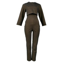 Vintage Jean Paul Gaultier Bronze Metallic Jumpsuit & Cropped Jacket Ensemble