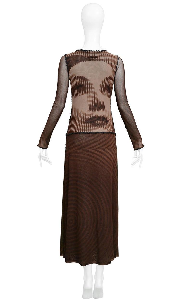 Black Vintage Jean Paul Gaultier Brown Mesh Movie Star Dress For Sale