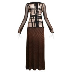 Vintage Jean Paul Gaultier Brown Mesh Movie Star Dress