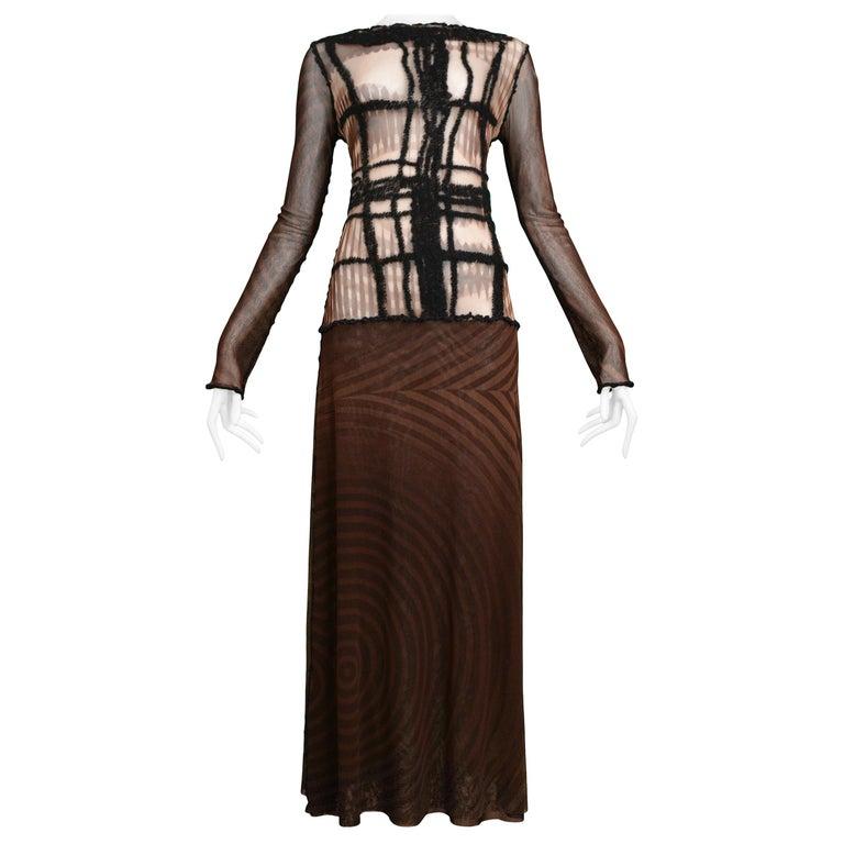 Vintage Jean Paul Gaultier Brown Mesh Movie Star Dress For Sale